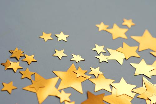 sternchen Stern (Symbol) Sterne viele Weihnachten & Advent Symbole & Metaphern Postkarte glänzend Papier einfach minimalistisch Hintergrund neutral Zacken