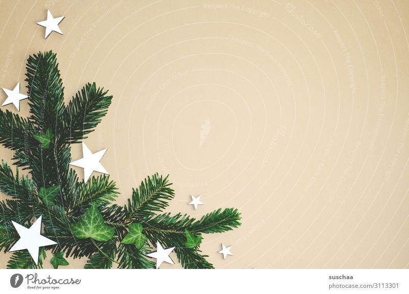 weihnachtliches dekozeugs (3) Stern (Symbol) Tannenzweig Weihnachten & Advent Postkarte Dekoration & Verzierung Flatlay Hintergrund neutral viel Textfreiraum