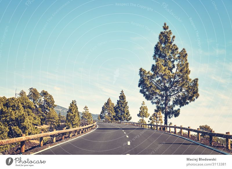 Malerische Bergstraße, Teneriffa, Spanien. Ferien & Urlaub & Reisen Ausflug Abenteuer Freiheit Sommer Berge u. Gebirge Landschaft Himmel Baum Straße Autobahn