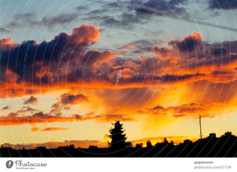 heaven to hell Sonnenaufgang Wolken Licht gelb orange Himmel Wetter schön