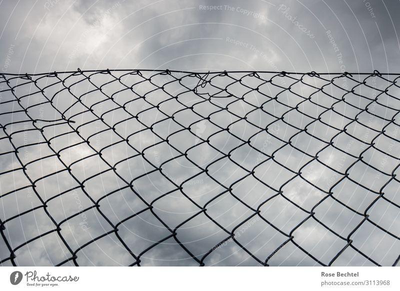 Blick nach oben Metall Traurigkeit Einsamkeit Zaun Maschendrahtzaun Grenze Grenzzaun dunkle Wolken Gedeckte Farben Außenaufnahme Textfreiraum oben