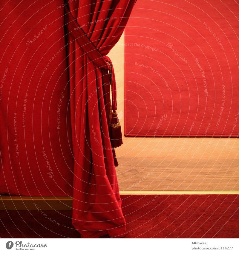 vorhang auf Kunst Theater Bühne rot Vorhang Theaterplatz Teppich Schnur Theaterschauspiel Samt Farbfoto Innenaufnahme Menschenleer