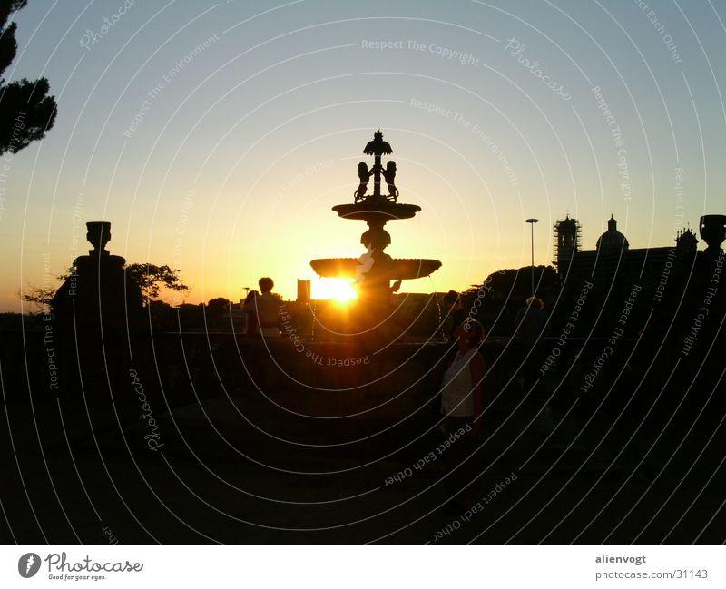 Sunny Water Gegenlicht Italien Springbrunnen Sonnenuntergang Wasser