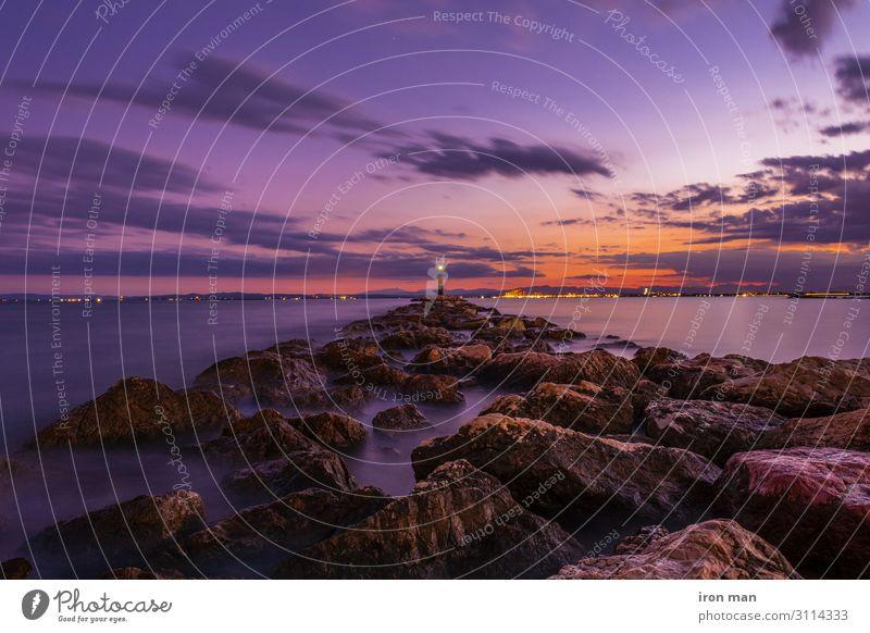Wellenbrecherfelsen im Golf von Roses, Spanien, bei längerer Exposition. Ferien & Urlaub & Reisen Tourismus Strand Meer Haus Natur Landschaft Himmel Horizont