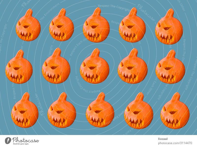 Kürbisse auf blauem Hintergrund Design Feste & Feiern Halloween Kindheit Kunst Kunstwerk Herbst Aktenordner Dekoration & Verzierung Zeichen genießen Lächeln