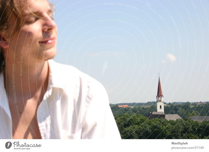 freiheit Mensch Himmel Baum Wolken Religion & Glaube Feld