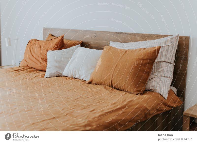 Leinen orange Bettwäsche mit Kissen Schlafzimmer Kopfkissen Kissenbezug Laken Dekoration & Verzierung heimwärts gemütlich Schlafplatz schlafen