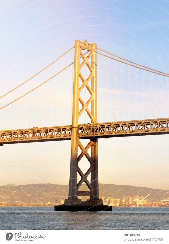 Turm der Oakland Bay Bridge in San Francisco Ferien & Urlaub & Reisen Tourismus Meer Landschaft Brücke Architektur Verkehr Stahl innovativ modern