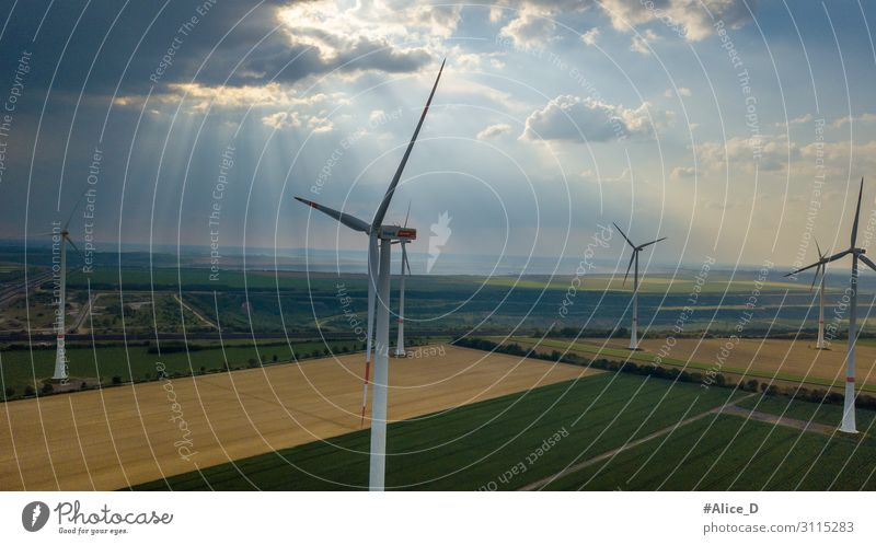 aerial view of wind turbines field energy Natur Wind Kraft innovativ Umwelt Umweltschutz agriculture clouds conservation dawn drone ecology electric electricity