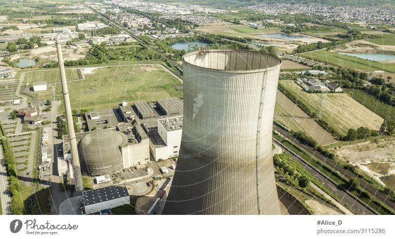 Decommissioned nuclear power plant Muelheim-Kaerlich Germany Energiewirtschaft Industrie Umwelt Eis Frost Industrieanlage Fabrik Turm Kernkraftwerk Schornstein
