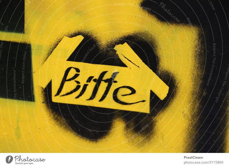 Bitte schwarz Lifestyle gelb Stil Stein Stimmung Design Schriftzeichen Kommunizieren Kultur Jugendkultur Zeichen Unendlichkeit trashig Frustration Subkultur