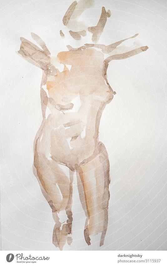Aquarell weiblicher Akt Frau Körper Farbe Haut feminin Erotik Weiblicher Akt nackt Erwachsene Bauch Mensch Junge Frau schön Jugendliche Tag Farbfoto Begierde