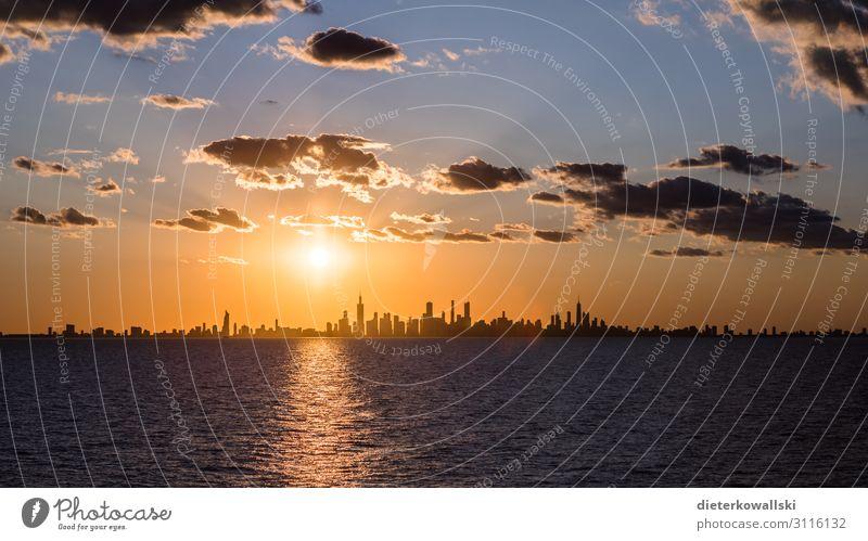 Chicago Stadt Skyline Ferien & Urlaub & Reisen groß schön Reisefotografie Amerika aufregend Sonnenaufgang Silhouette Farbfoto Menschenleer Morgen