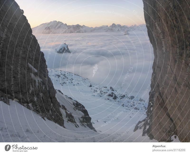 Nach unten, entspannt... Nebel Alpen Berge u. Gebirge Gletscher Schlucht Glück Zufriedenheit Lebensfreude selbstbewußt Coolness Optimismus Erfolg Kraft