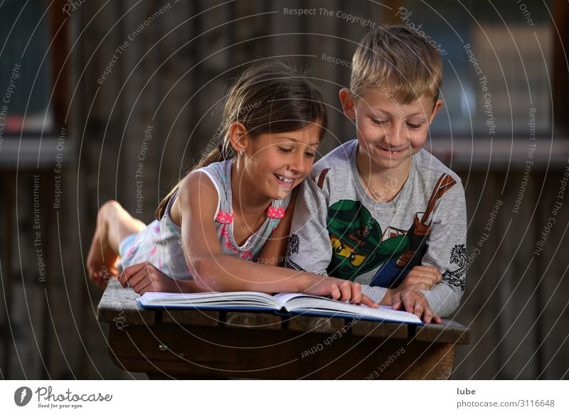 Lesegemeinschaft Bildung Kind Schule lernen Schulkind Schüler Mädchen Junge Geschwister Freundschaft Kindheit 2 Mensch 3-8 Jahre Buch Bibliothek lesen