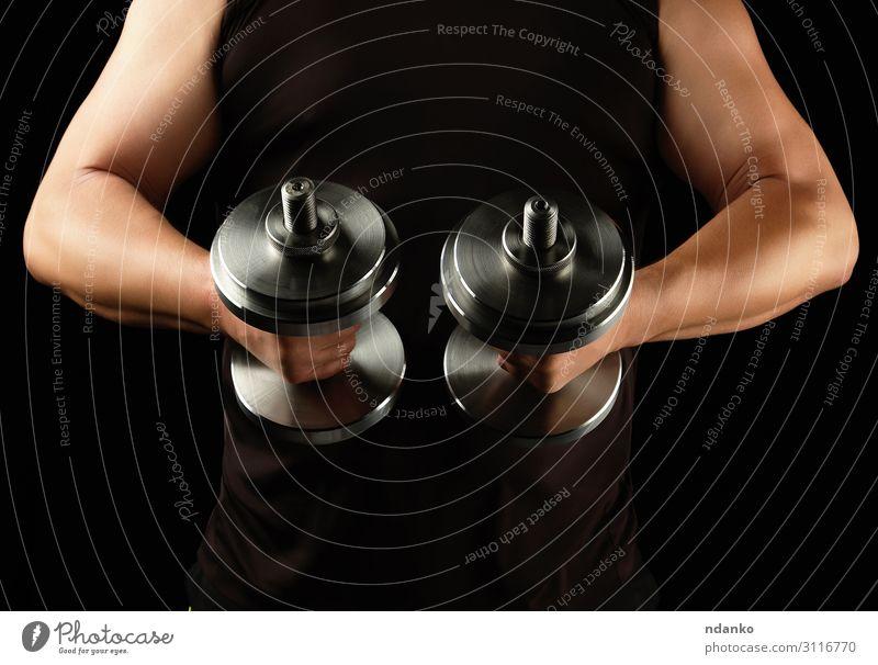 Mensch Mann Hand schwarz Lifestyle Erwachsene Sport Körper Kraft Aktion Arme Fitness sportlich stark Stahl muskulös