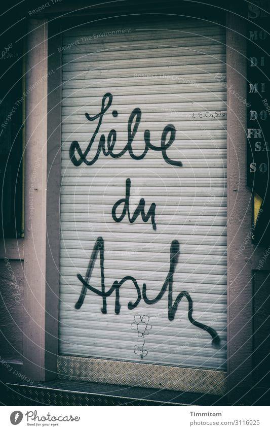 Fingerspitzengefühl | eher dosiert eingesetzt Köln Stadt Haus Tür Stein Kunststoff Schriftzeichen Aggression trashig wild mehrfarbig grau schwarz Gefühle