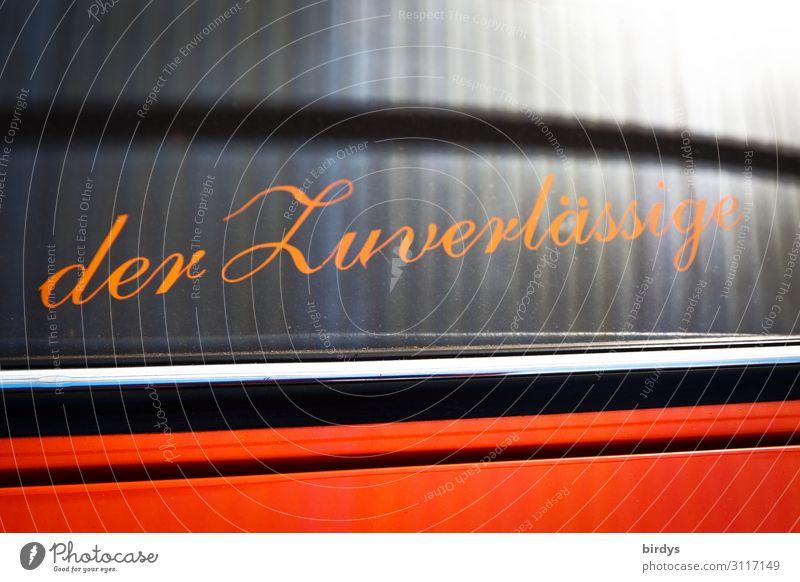 der Zuverlässige kaufen Arbeit & Erwerbstätigkeit Dienstleistungsgewerbe Handwerk Erfolg Schriftzeichen authentisch einzigartig positiv grau orange