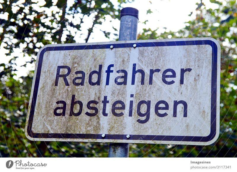 """Radfahrer absteigen Umwelt Park Fahrradfahren Fußgänger Wege & Pfade Verkehrszeichen Verkehrsschild Schilder & Markierungen Zeichen """"warnung aufmerksamkeit"""