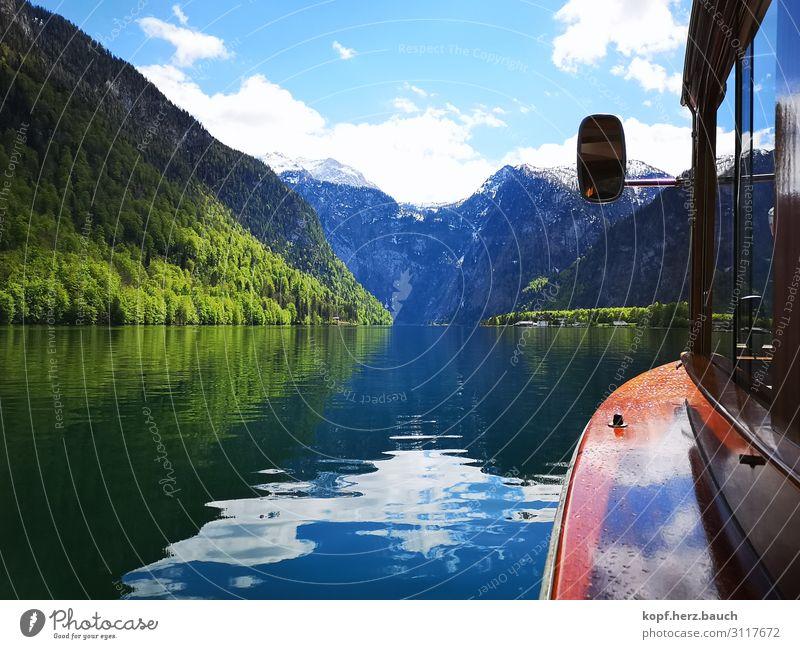 eine Bootsfahrt Natur Alpen Seeufer Königssee Erholung gigantisch Ferien & Urlaub & Reisen Idylle Tourismus Tradition Güterverkehr & Logistik Sehnsucht Fernweh