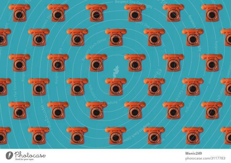 Nahtloses Muster eines orangefarbenen Handys im Retro-Stil Tapete Büro Telekommunikation Business sprechen Telefon Headset Technik & Technologie Internet