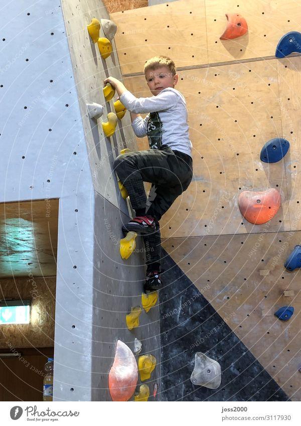 Boldern Kids Klettern Bergsteigen Mensch maskulin Junge Körper 1 3-8 Jahre Kind Kindheit Bewegung Farbfoto Innenaufnahme Textfreiraum unten Tag Totale