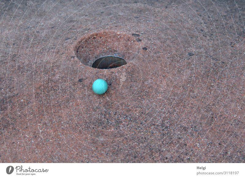 blauer Minigolfball liegt kurz vor dem Ziel am Rand des Lochs Freizeit & Hobby Spielen Ball Bewegung authentisch klein rund braun türkis Freude einzigartig