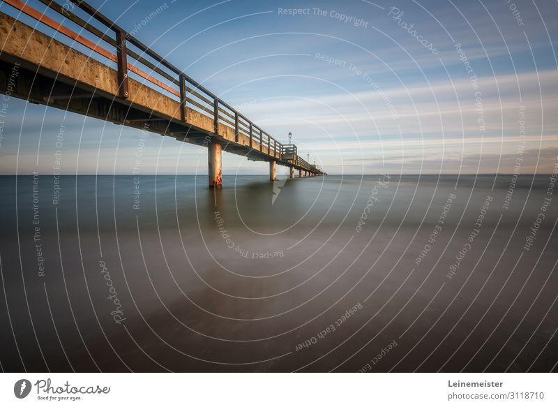 Seebrücke Prerow Ferien & Urlaub & Reisen Natur Sommer blau Wasser Landschaft Meer Erholung Strand Umwelt Küste Tourismus Ausflug Horizont Wellen Schönes Wetter