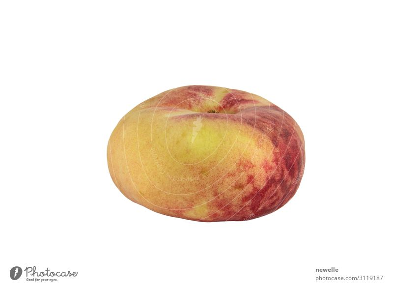 Pfirsich Saturn isoliert auf weißem Hintergrund Foto Frucht Vegetarische Ernährung Diät exotisch Haut Menschengruppe frisch lustig saftig weich gelb rot