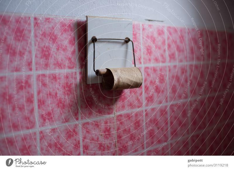 Fingerspitzengefühl | Kopfkino rosa retro leer Todesangst Bad Fliesen u. Kacheln Toilette trashig Rolle Hemmung Toilettenpapier allerliebst Retro-Farben