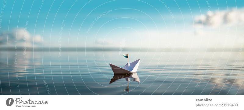 Papierschiff schwimmt auf ruhigem See | XXL Panorama Freude Gesundheit Wellness Schwimmen & Baden Ferien & Urlaub & Reisen Tourismus Ausflug Ferne Kreuzfahrt