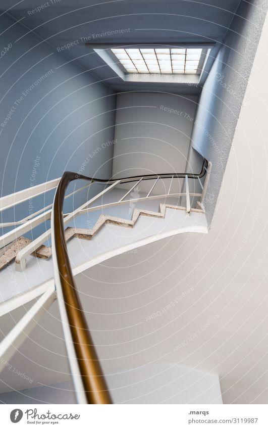 Der Weg nach oben Lifestyle Design Innenarchitektur Treppe Fenster Treppengeländer eckig neu blau weiß anstrengen Erfolg Ziel Farbfoto Innenaufnahme