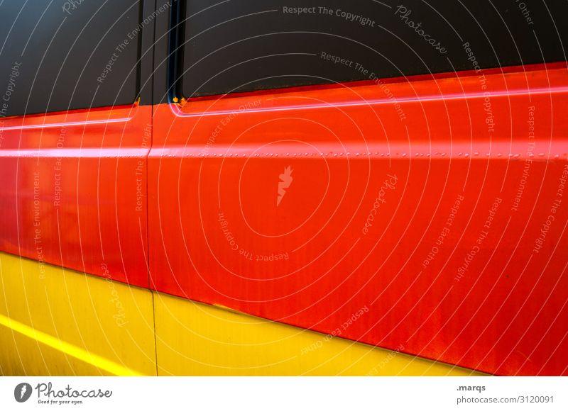 Bus Farbe rot schwarz gelb Linie PKW Metall Perspektive Deutsche Flagge Politik & Staat Bauwagen