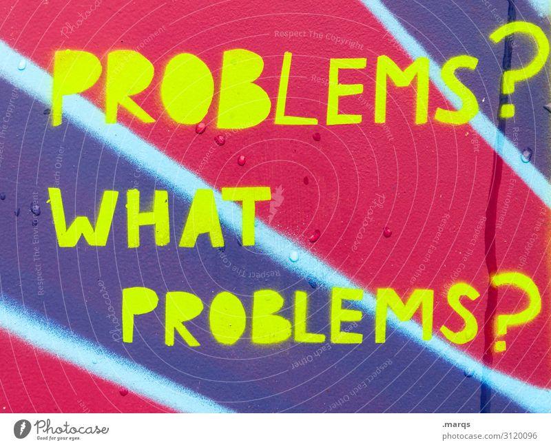 Null Problemo | Geschriebenes Farbe gelb Wand Mauer rosa Schriftzeichen Hoffnung violett Beratung Verzweiflung Problemlösung Tatkraft Problematik