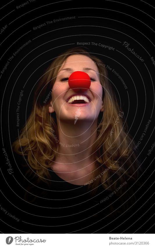 Maskerade Jugendliche Junge Frau schön Freude lustig lachen Feste & Feiern Spielen Party Kopf leuchten Kommunizieren ästhetisch Fröhlichkeit genießen Zeichen