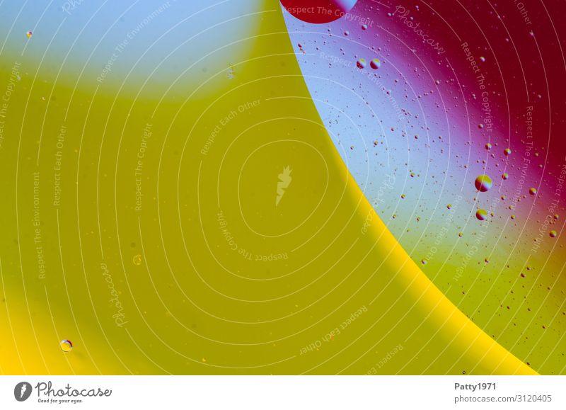 Öl abstrakt Stil Design exotisch Wellness harmonisch Flüssigkeit Muster Strukturen & Formen Kreis Blase rund gelb grün violett Reinheit Zufriedenheit bizarr