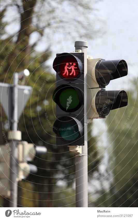Ampelanlage für Gleichgeschlechtige Homosexualität Zeichen Verkehrszeichen rot lesbenampel Piktogramm Symbole & Metaphern paar pärchen schwulenampel weiblich