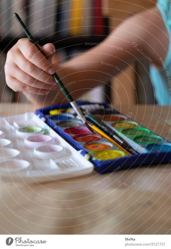 Bunte Farben Freude malen Kindergarten Schule Hand 1 Mensch Kunst Maler Pinsel Farbkasten zeichnen authentisch frisch Begeisterung Bildung Kreativität