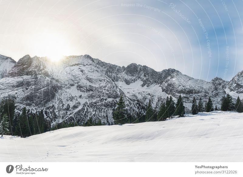Wintermorgenszene mit verschneiten Alpenbergen in Österreich Ferien & Urlaub & Reisen Ausflug Abenteuer Schnee Berge u. Gebirge Weihnachten & Advent