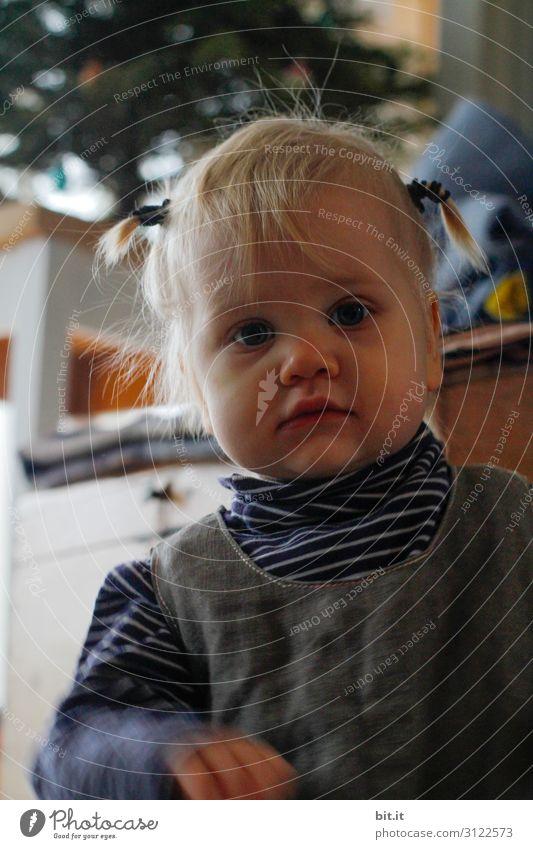Heute kommt das Christkind Mensch feminin Kind Kleinkind Mädchen beobachten Neugier Blick Blick in die Kamera Blick nach vorn Kindheit Porträt Innenaufnahme