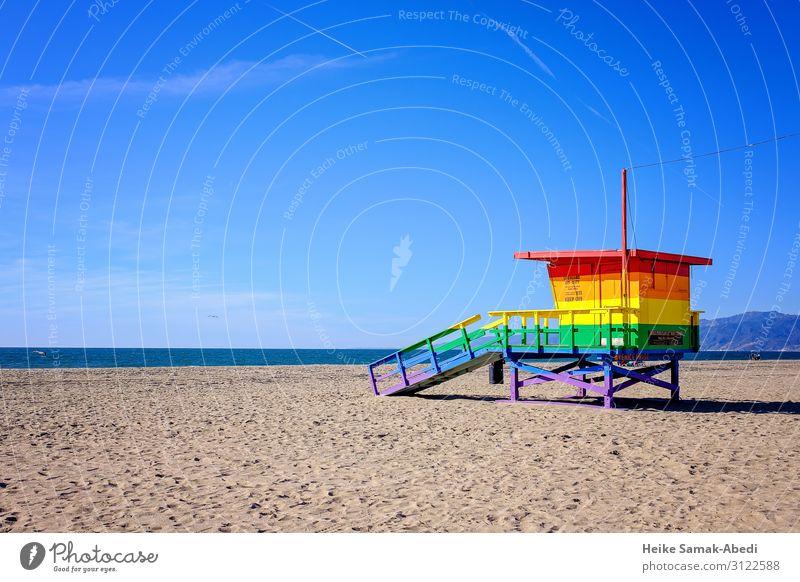 Bunter Rettungsturm der Lifeguards in Venice Beach Strand Meer Schwimmen & Baden Wasser Himmel Wolkenloser Himmel Küste Seeufer Los Angeles Kalifornien