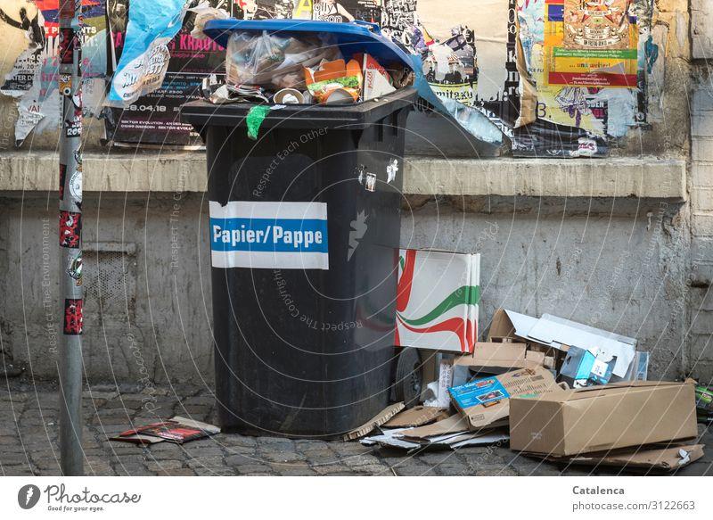Hier riecht es doch nach | Abfall Müll Mülltonne Straßenrand Papier Plastik Essensreste Pizzareste Umweltverschmutzung Kunststoff Recycling Problematik dreckig