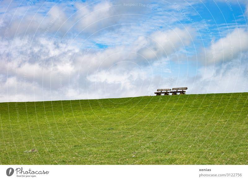 Stehen zwei Bänke auf dem Deich..bei schönem Wetter Bank Parkbank Sitzplatz Natur Landschaft Himmel Wolken Frühling Sommer Klima Schönes Wetter Gras Wiese Küste