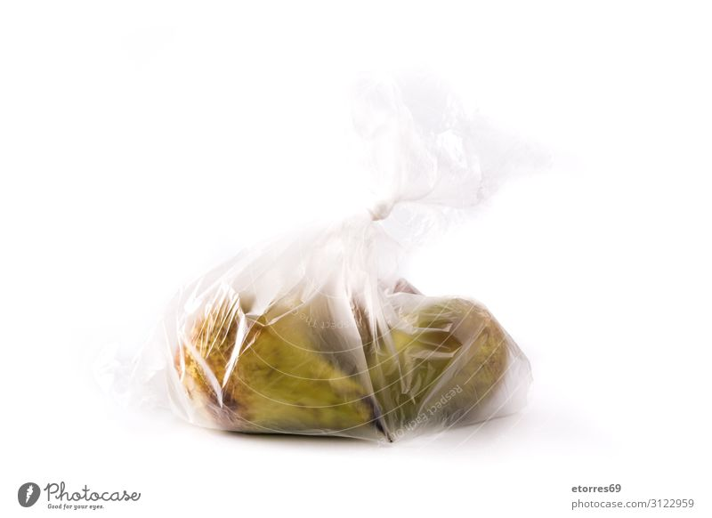 Birnen verpackt in Plastiktüte isoliert auf weißem Hintergrund Kunststoff Tasche Frucht Isoliert (Position) Lebensmittel Gesunde Ernährung Foodfotografie