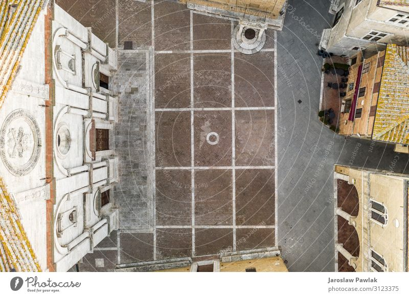 Der Hauptplatz in Pienza, Toskana, Foto von oben, aufgenommen von der Drohne. antik alt Italienisch historisch Architektur Stadt reisen Großstadt