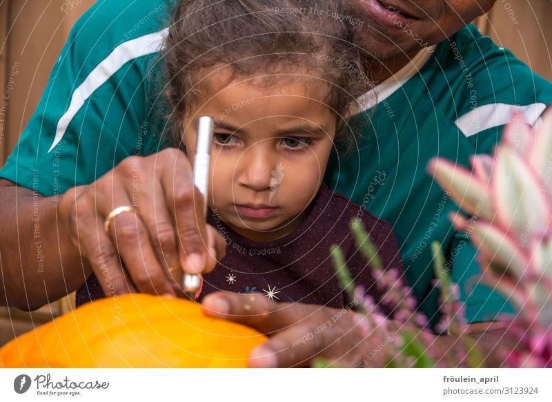 Kürbisschnitzen Basteln Kind maskulin feminin Mädchen Vater Erwachsene Familie & Verwandtschaft Gesicht Hand 2 Mensch 3-8 Jahre Kindheit 30-45 Jahre Herbst