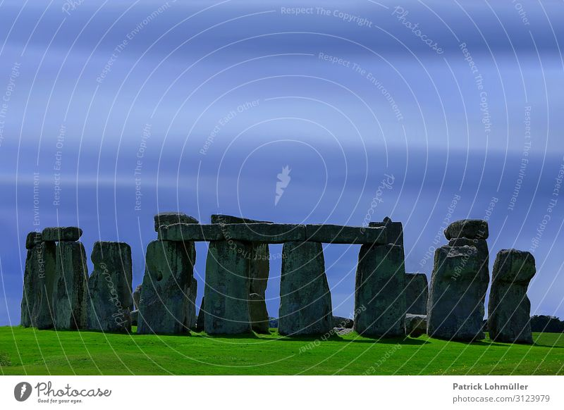 Stonehenge Tourismus Ausflug Sightseeing Umwelt Natur Landschaft Himmel Schönes Wetter Wiese Salisbury England Großbritannien Europa Sehenswürdigkeit