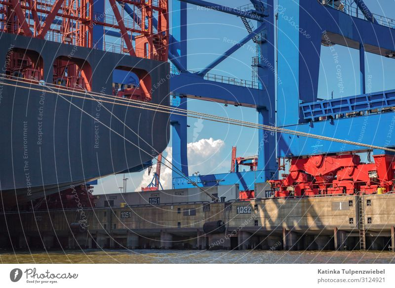Containerhafen Hamburg Technik & Technologie High-Tech Industrie Verkehr Güterverkehr & Logistik Schifffahrt Containerschiff Öltanker Hafen Anker blau grau rot
