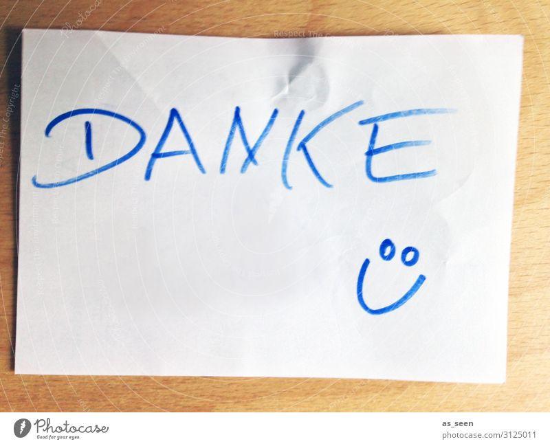 Danke ;-) Muttertag Arbeit & Erwerbstätigkeit Arbeitsplatz Büro Schreibwaren Papier Zettel Zeichen Smiley hängen Kommunizieren Lächeln authentisch