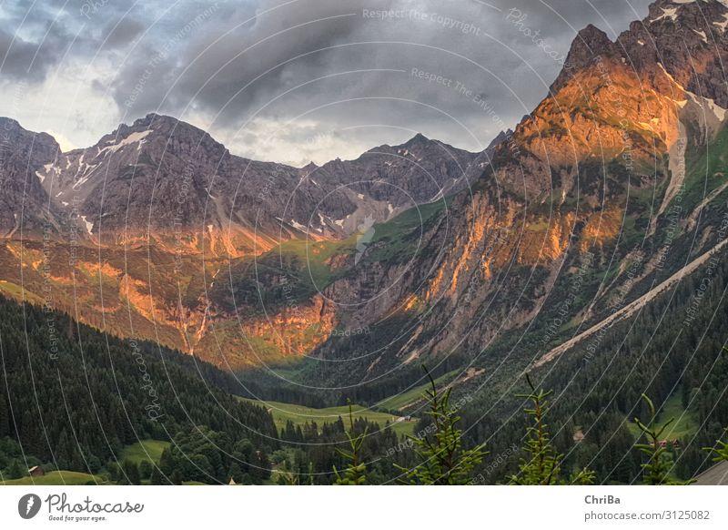 Alpenglühen Natur Landschaft Erde Gewitterwolken Sonnenaufgang Sonnenuntergang Sommer Wald Hügel Felsen Berge u. Gebirge Gipfel Schlucht entdecken Erholung